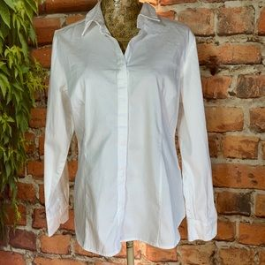 White Career Business Button Up Top XL Stretchy